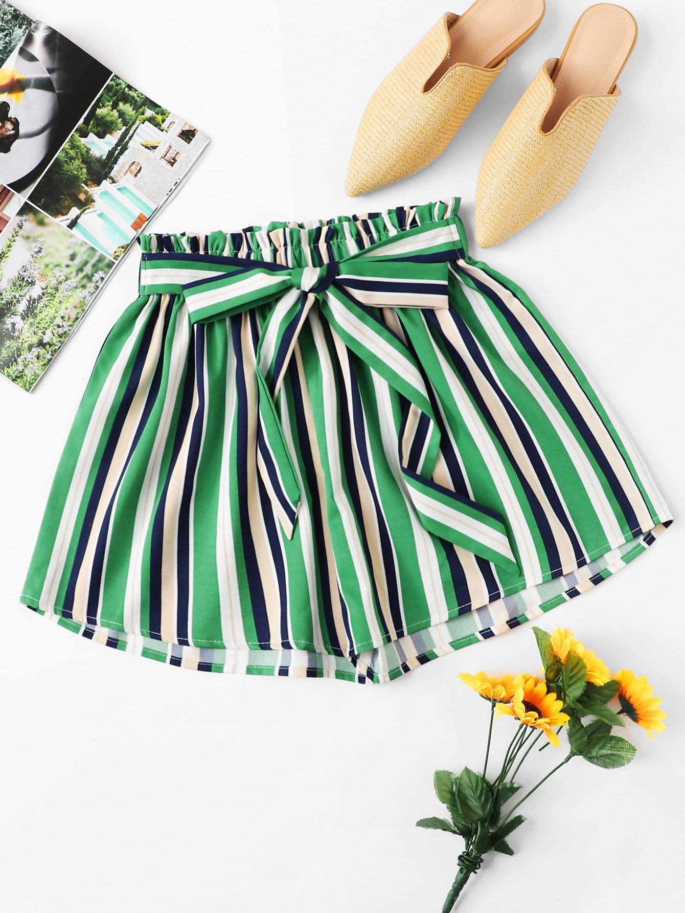 Plus Knot Detail Frill Trim Striped Shorts