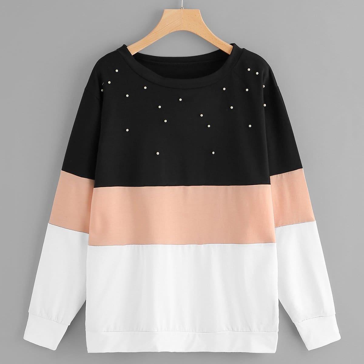 Kleurblok sweatshirt met parels