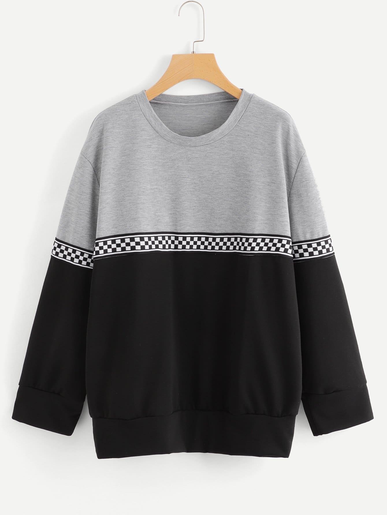 Plus Contrast Tape Color Block Sweatshirt