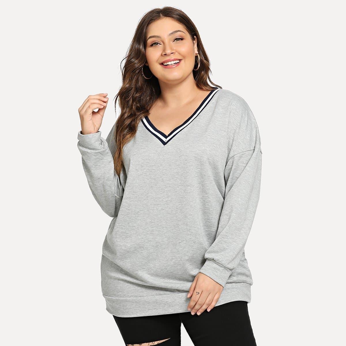 Sweater met gestreepte V-hals