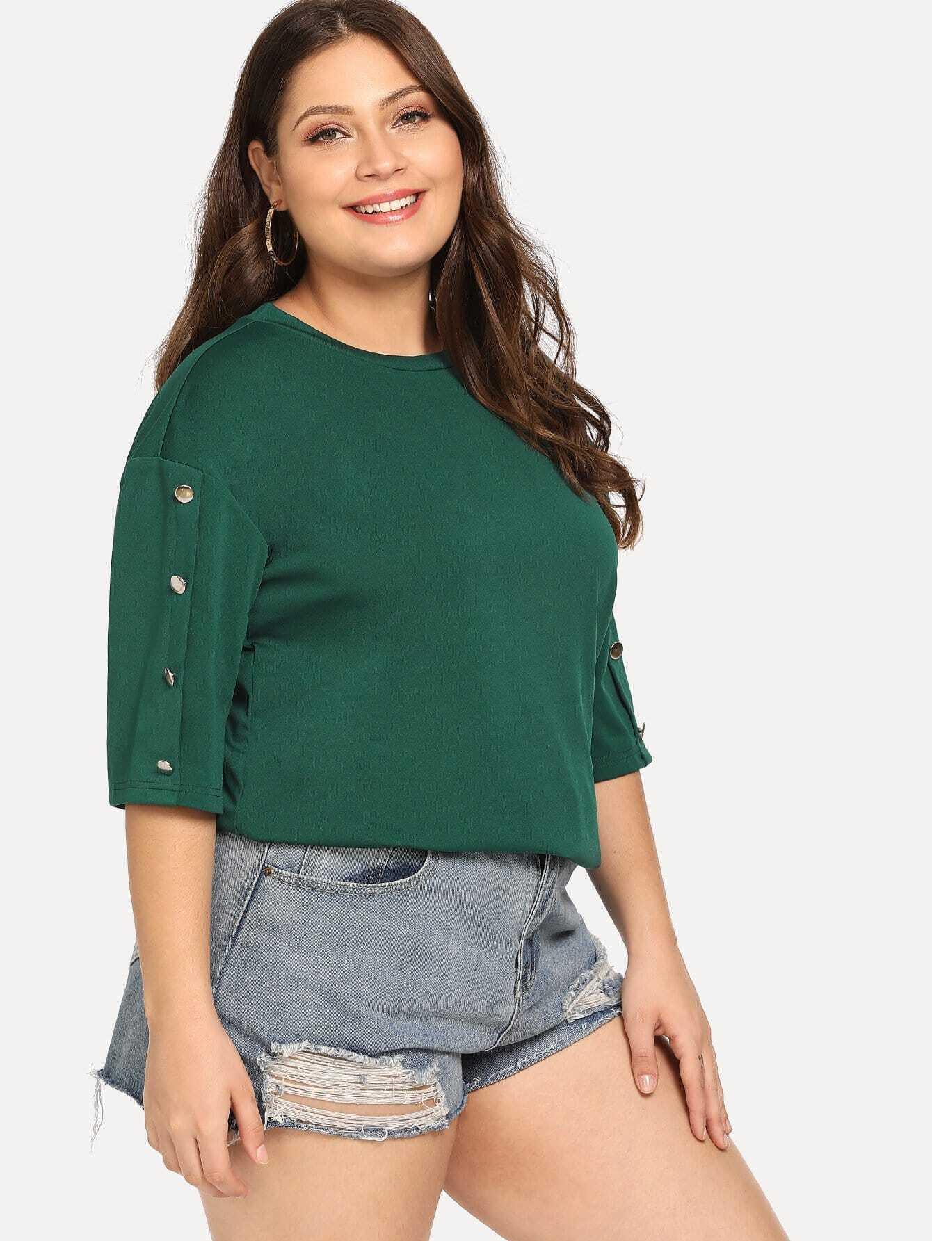 Купить Большая простая футболка с украшением пуговицы, Carol, SheIn