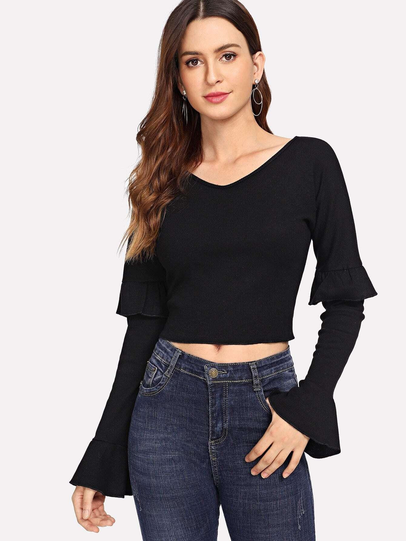 Купить Простая футболка с V-образным воротником, Jana, SheIn