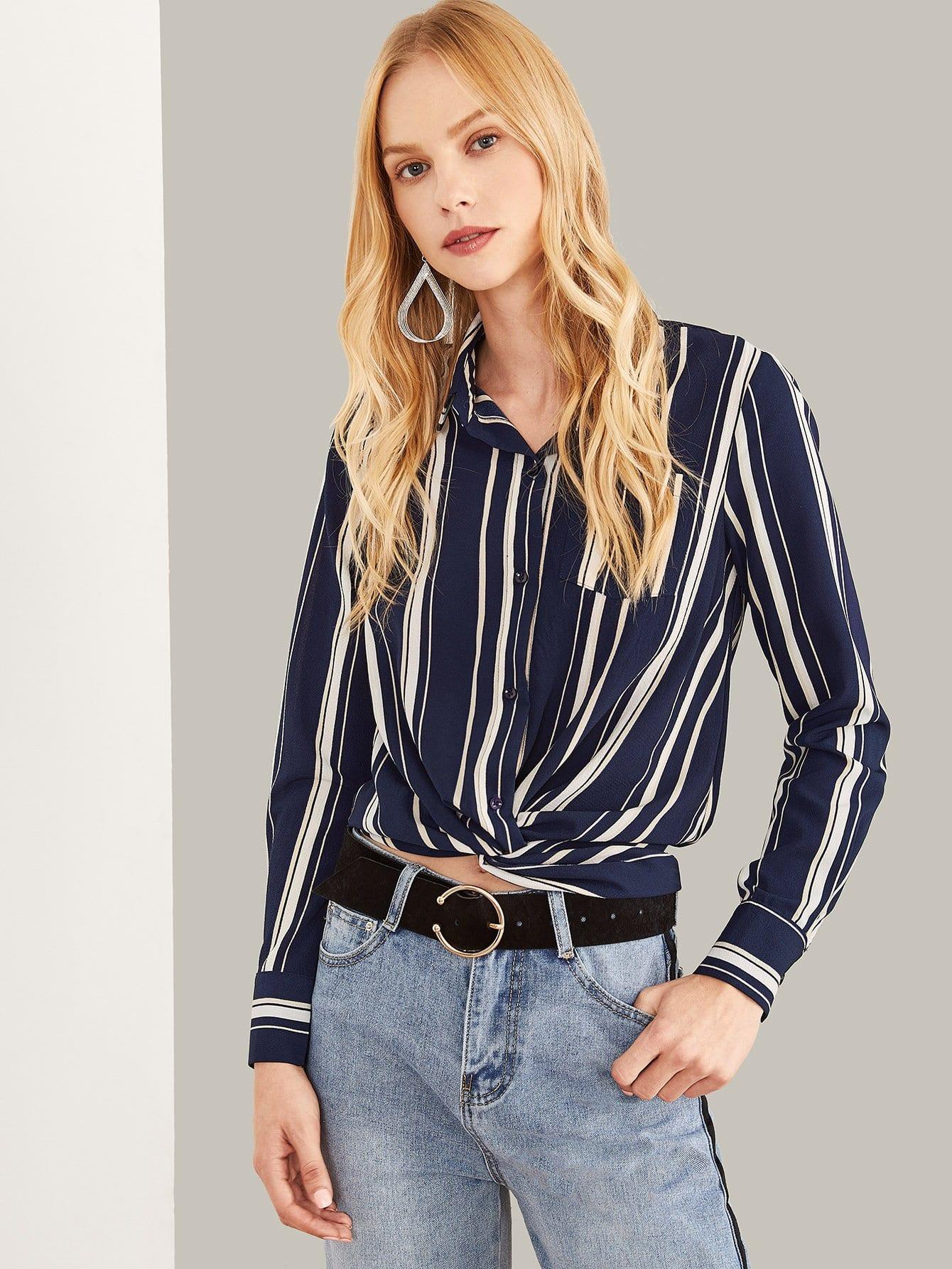 Купить Полосатая блузка с воротником и с украшением кармана, Denisa, SheIn