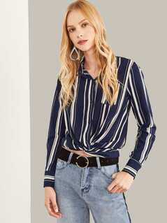 Twist Up Pocket Collar Neck Striped Top