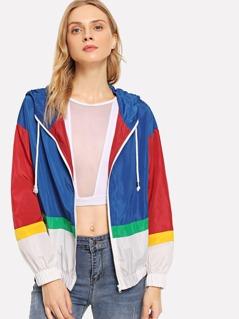 Color Block Drawstring Hoodie Jacket