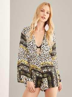 V-Neck Bell Sleeve Leopard Print Jumpsuit