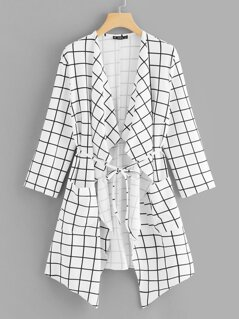 Waterfall Collar Grid Print Coat