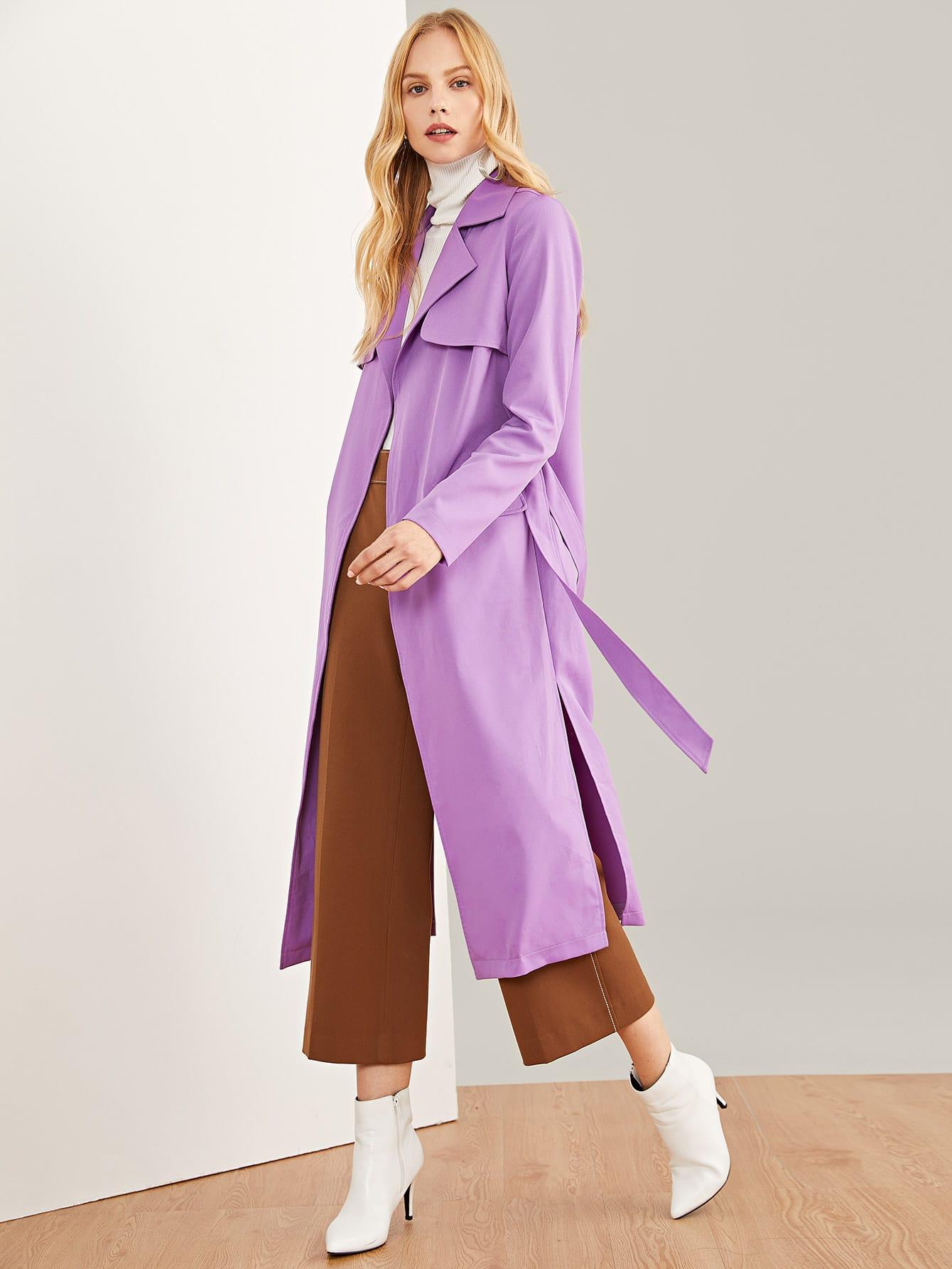 Купить Простое длинное пальто с воротником Notched, Denisa, SheIn