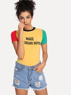 Letter Print Color Block Tee
