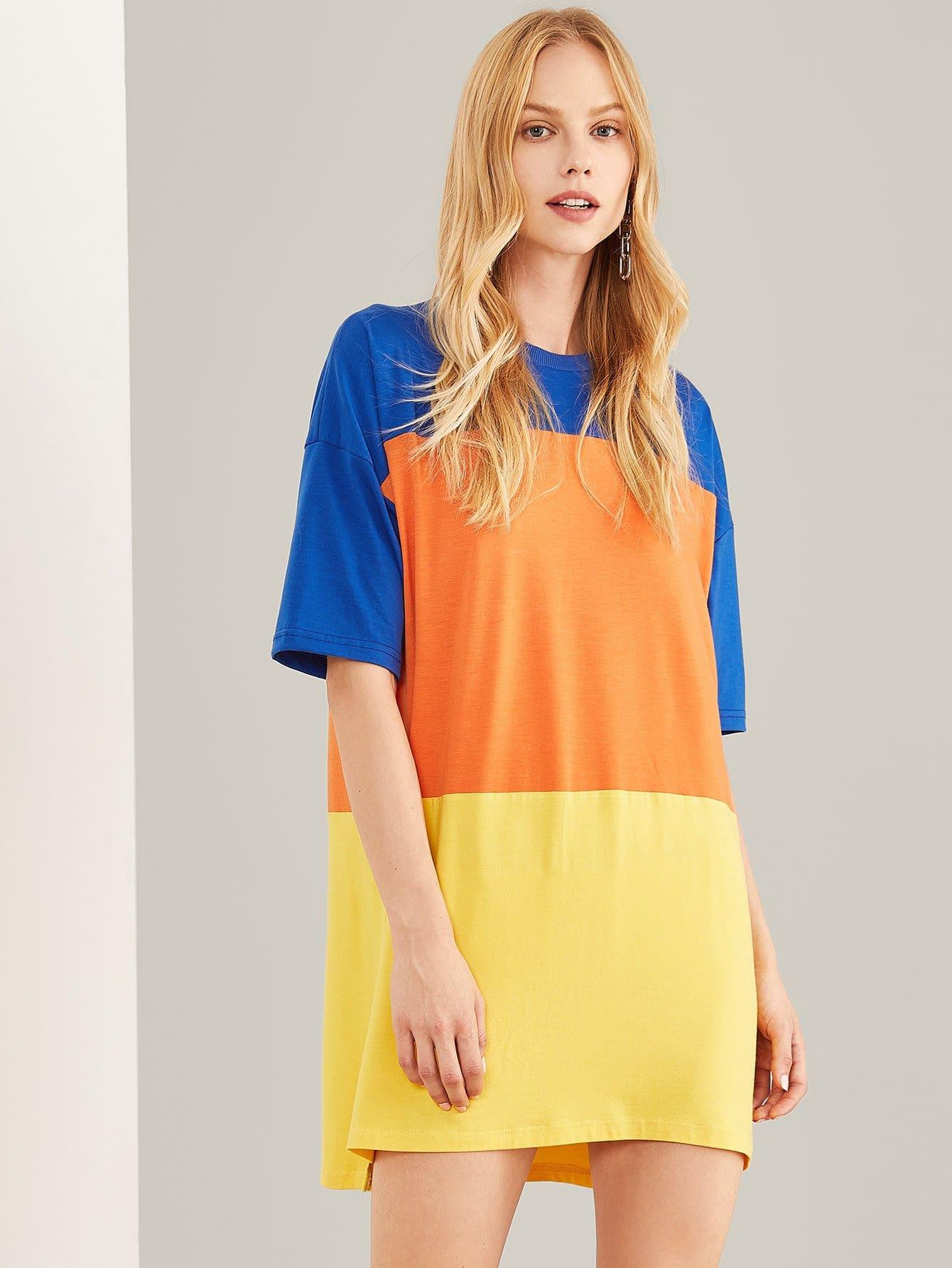 Контрастная длинная футболка, Denisa, SheIn  - купить со скидкой