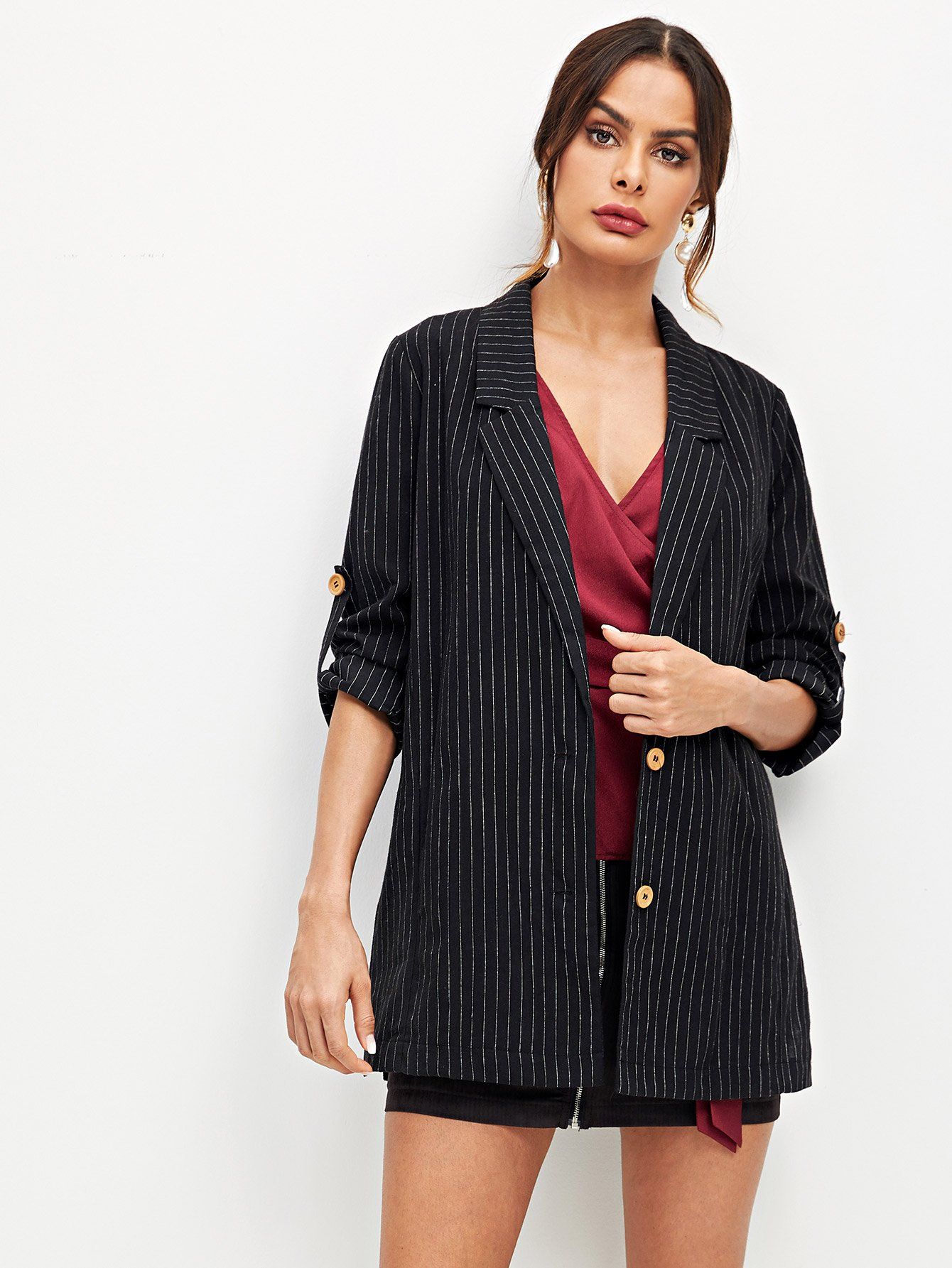 Notched Collar Striped Button Up Blazer