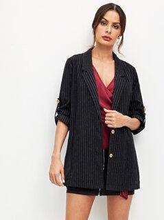 Notched Collar Striped Button Up Blazer