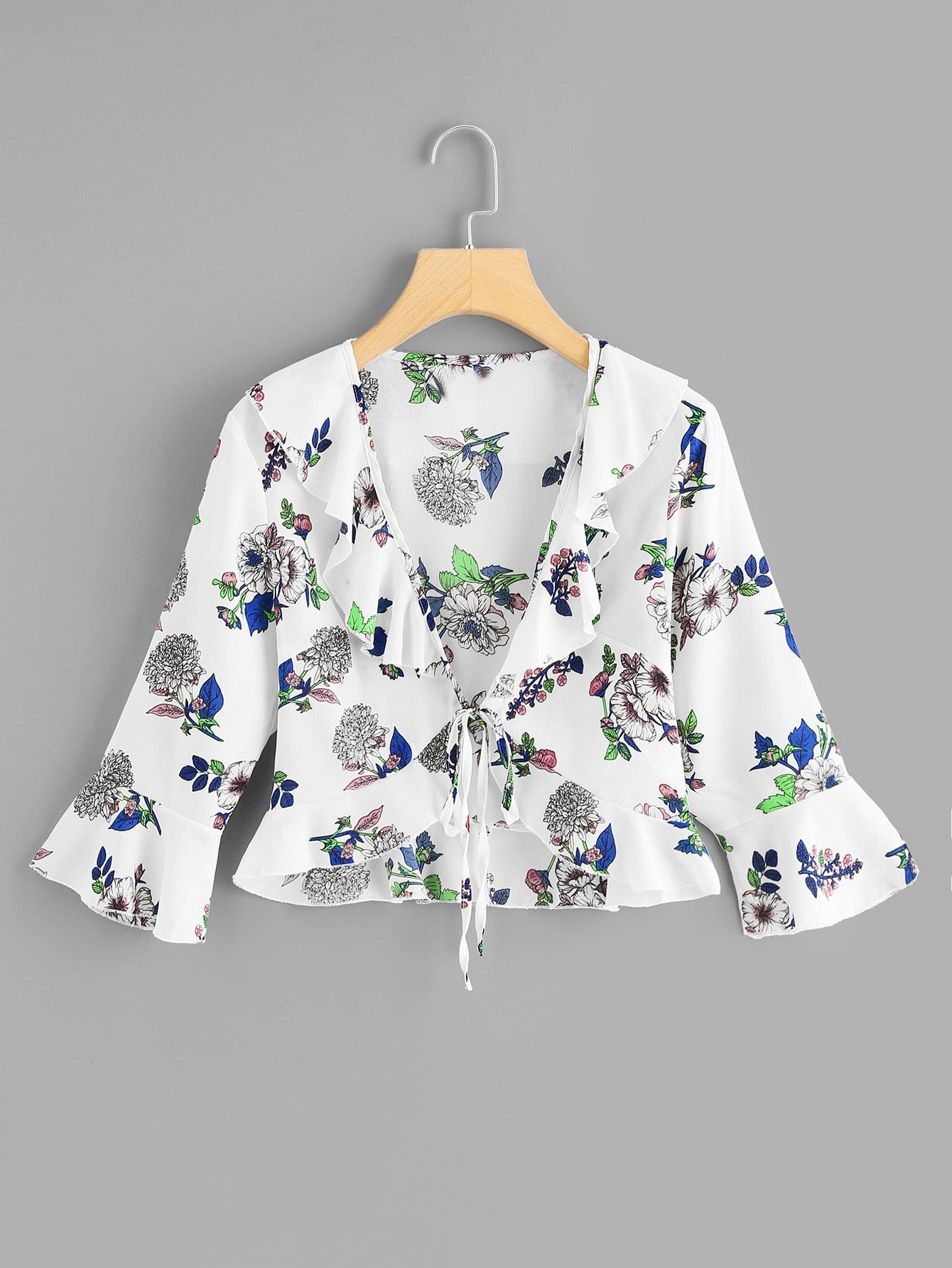 Купить Ruffle Knot Bell Sleeve Floral Top, null, SheIn