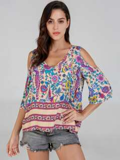 Cold Shoulder Flower Print Top