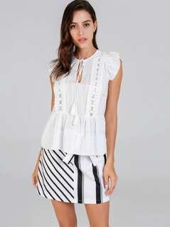 0862f5d96d9 Tie Neck Lace Contrast Ruffle Hem Top
