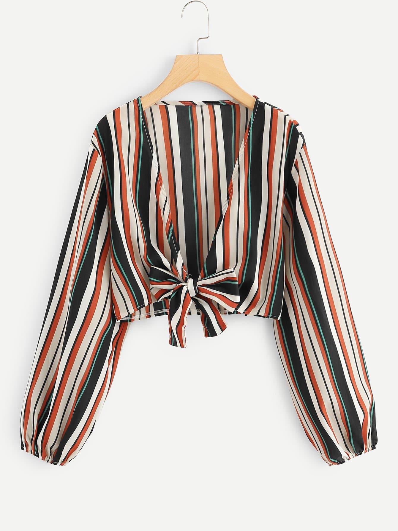 Купить Большая полосатая рубашка с рукавами Bishop и с украшением банта перед одежды, null, SheIn
