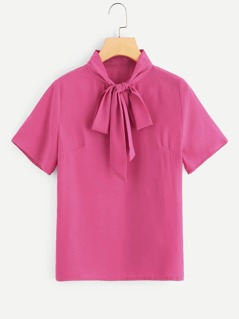 Neon Pink Solid Tied Neck Blouse