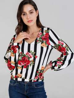 V-Neck Floral Striped Top