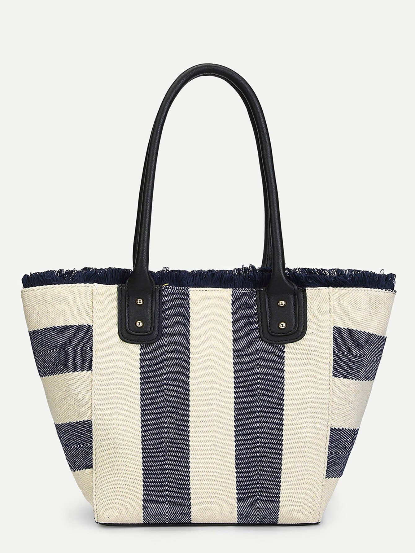 Tassel Trim Color Block Tote Bag