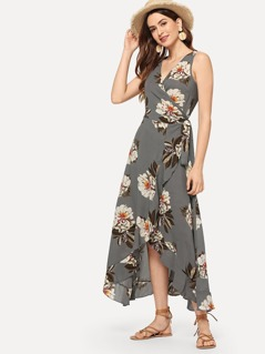 Surplice Neck Floral Ruffle Hem Dress