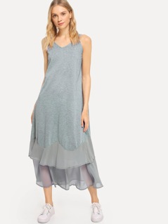 Tied Strap Tiered Hem Dress