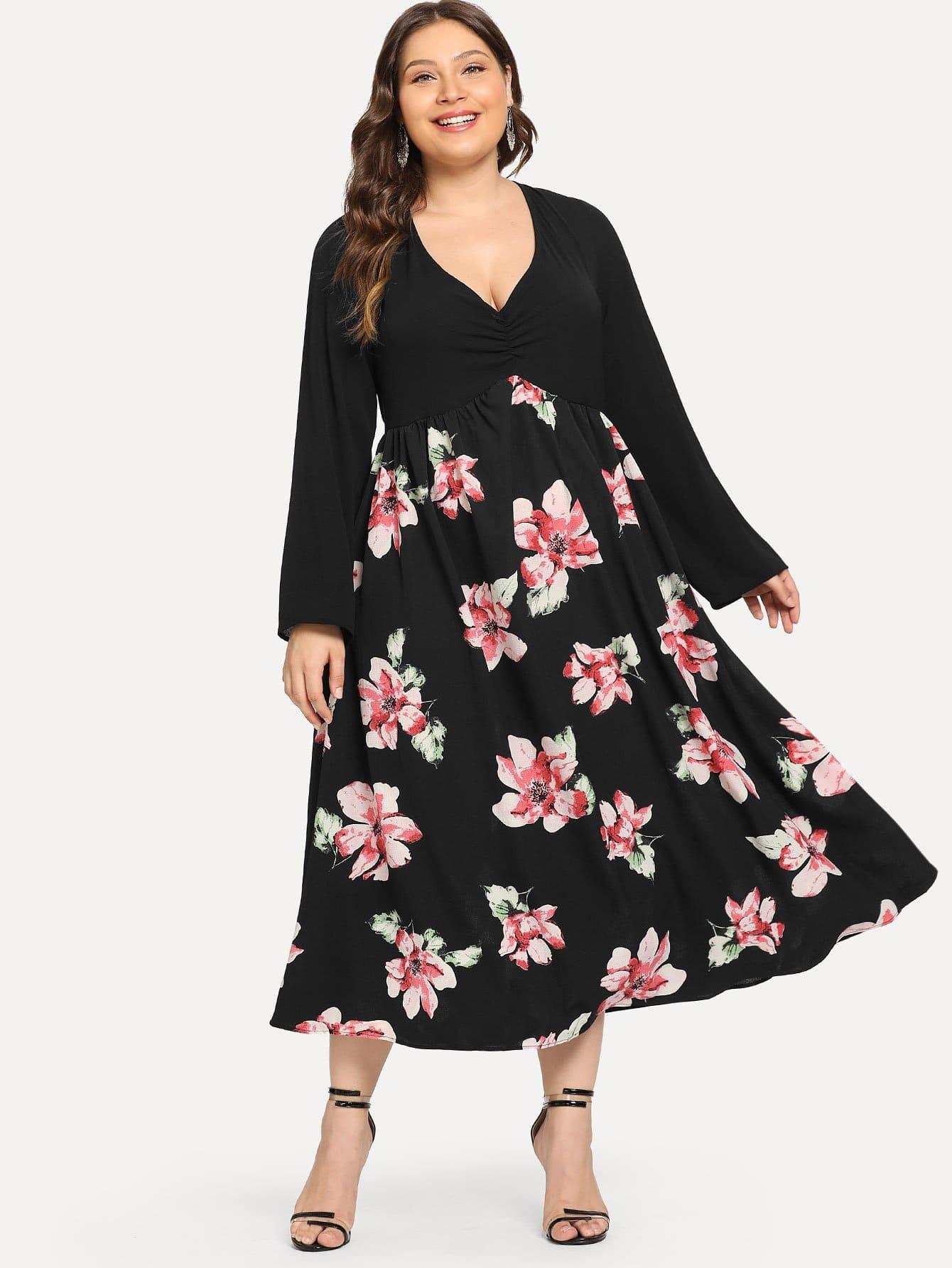Купить Большое плиссированное ситцевое платье, Carol, SheIn