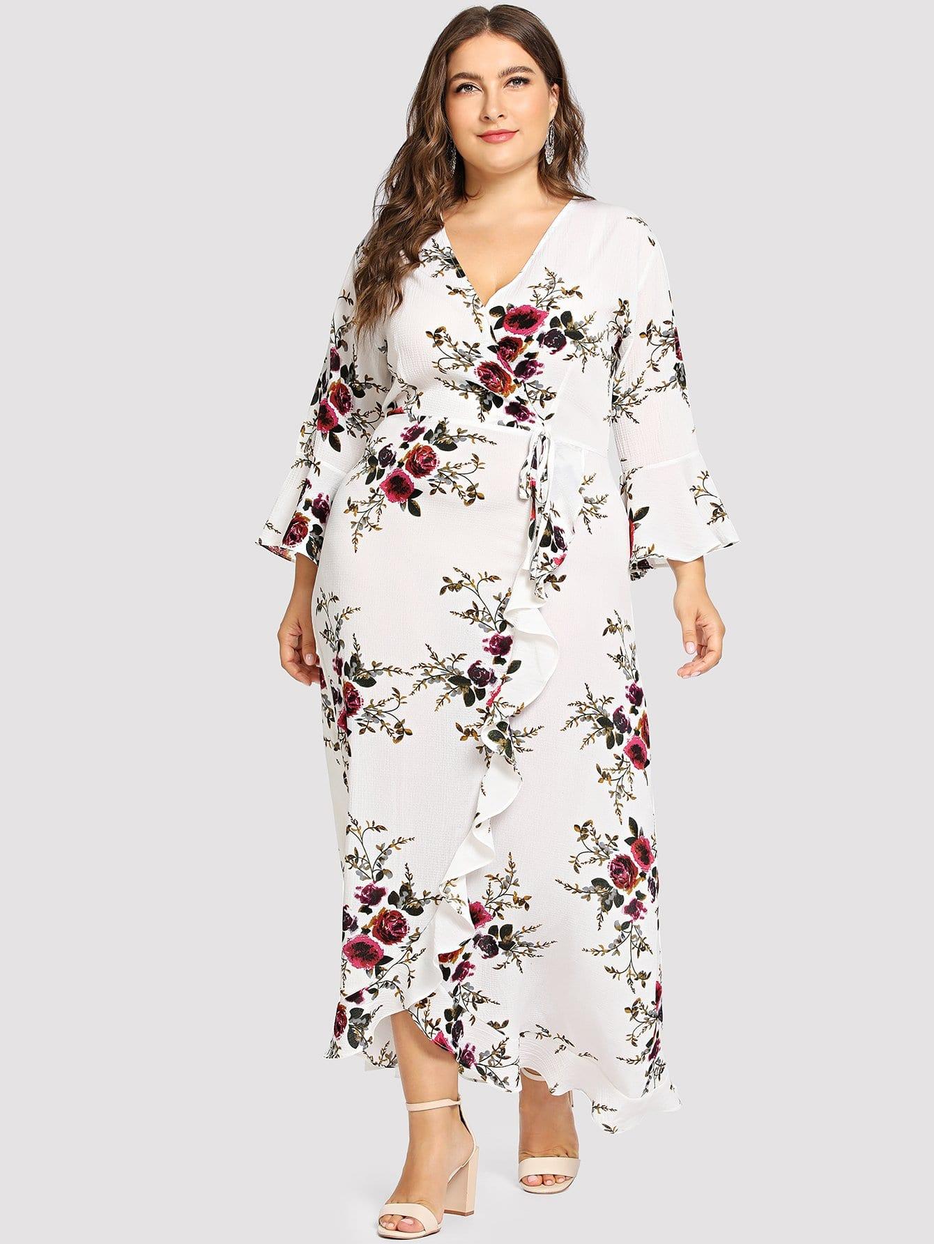 Купить Ситцевое облегающое платье с украшением банта и с розеткой, Franziska, SheIn