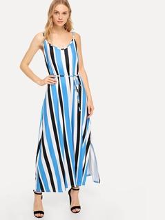 Vertical Stripe Slit Hem Cami Dress