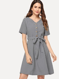 Button Half Placket Plaid Dress