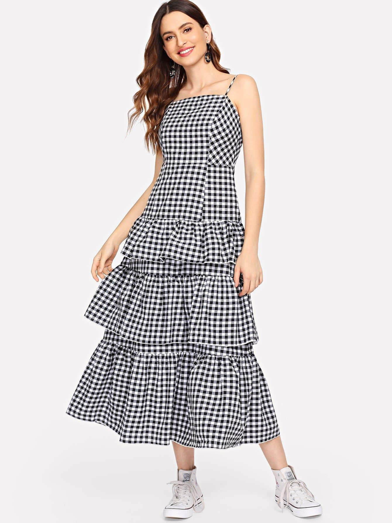Купить Слоеное платье Ruffle Plaid Cami, Jana, SheIn