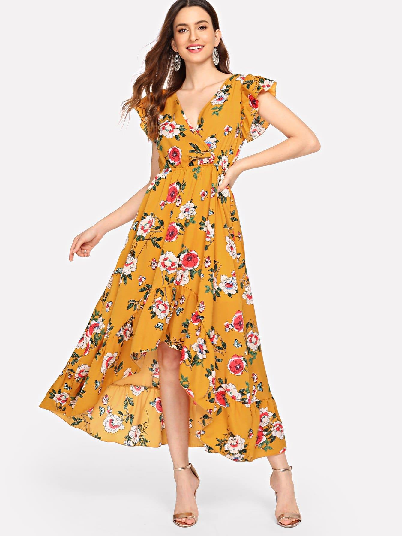 Купить Платье для принцессы V-образным вырезом Ruffle Hem, Jana, SheIn