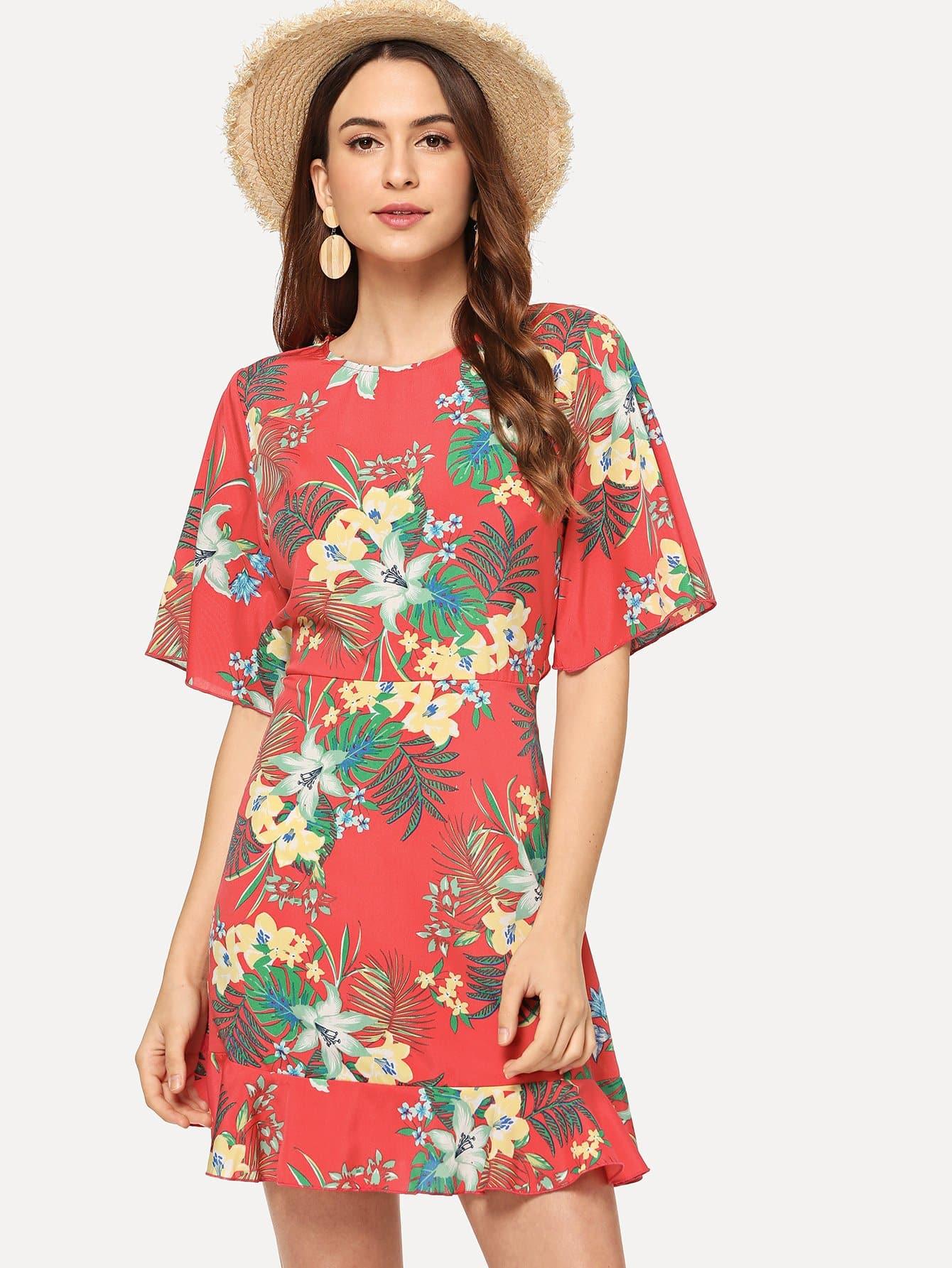 цена на Knot Back Ruffle Hem Floral Dress