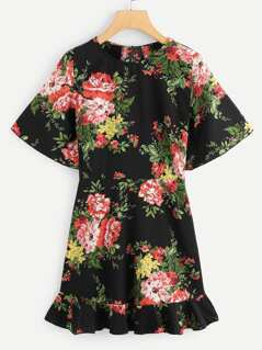 Flower Print Flounce Hem Dress