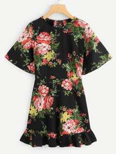 Flower Print Flounce Hem Dress