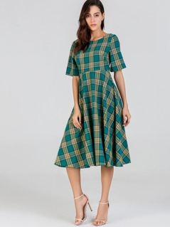 Backless Knot Plaid Dress