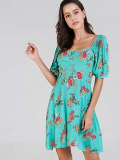 Flower Print Square Neck Dress