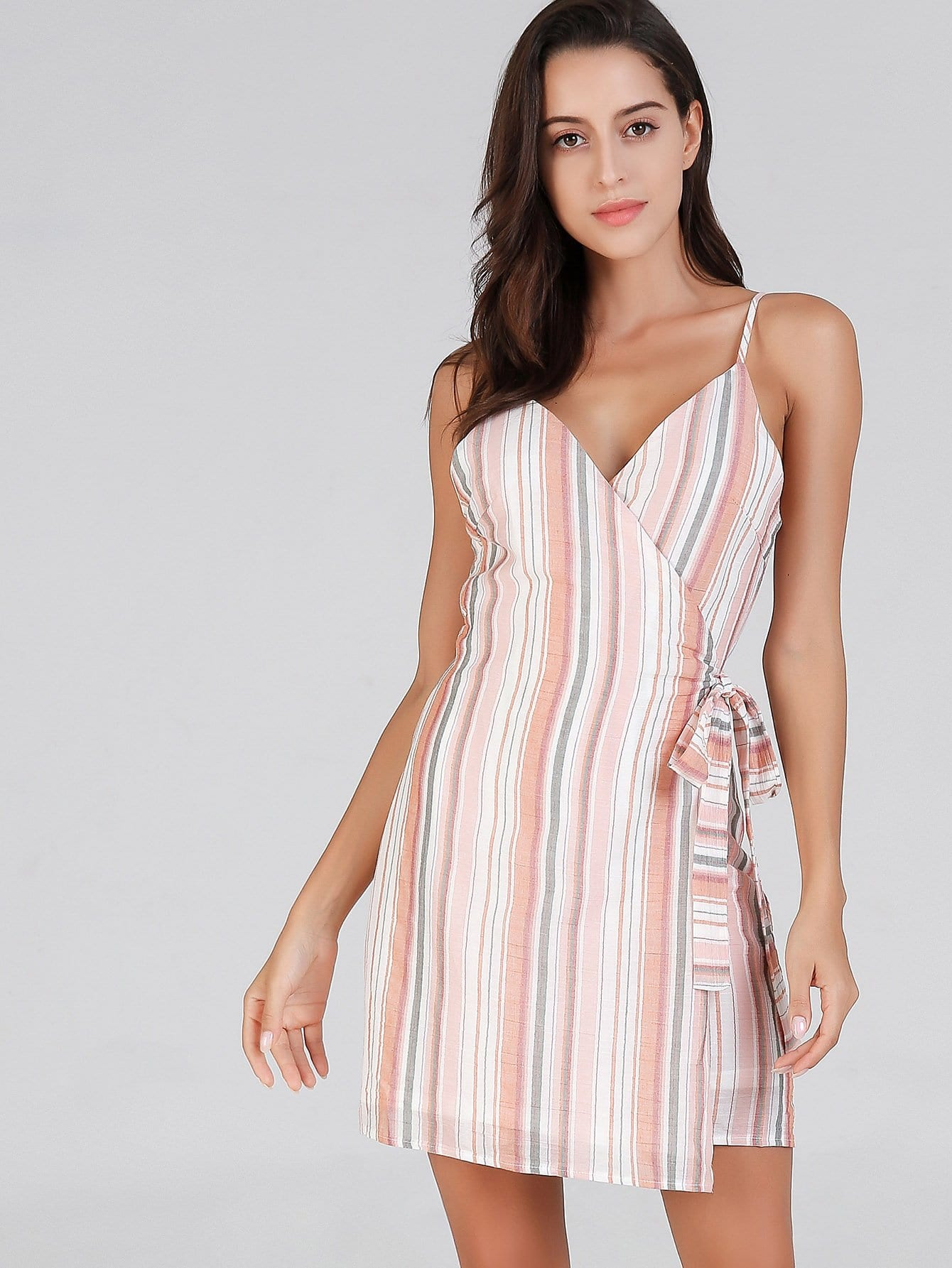 Купить Полосатое платье на бретелях и с украшением банта, Mary P., SheIn