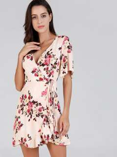 Knot Front Flower Print Dress