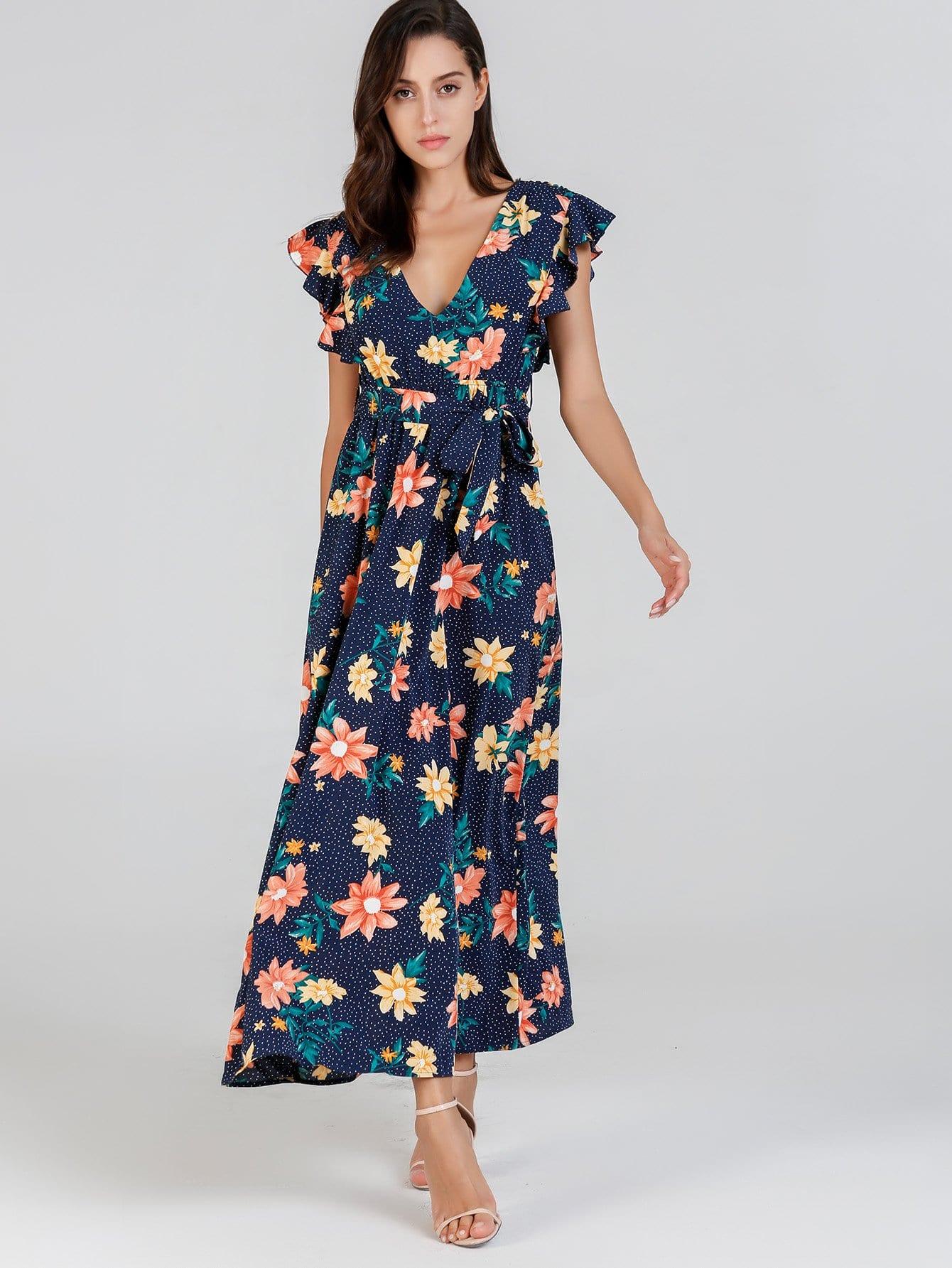Купить Платье с рисунками смешанными и с кружевными оборками, Mary P., SheIn
