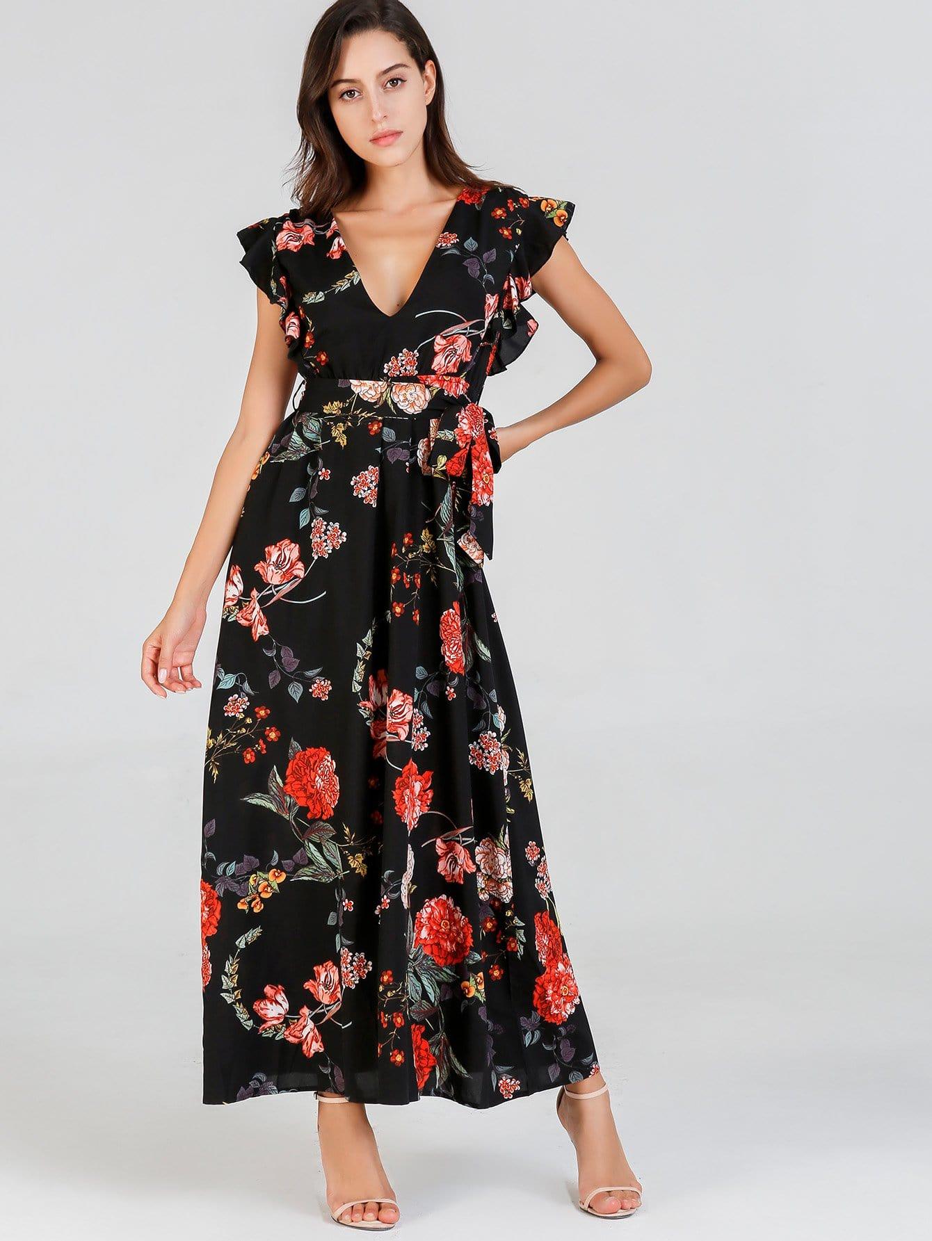 Купить Ситцевое платье с кружевными оборками, Mary P., SheIn