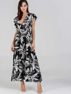 Ruffle Trim Jungle Leaf Print Dress