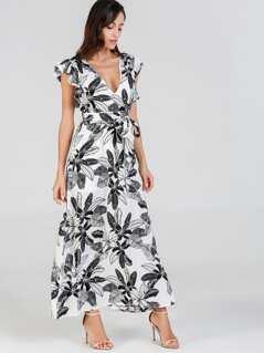 Ruffle Trim Jungle Leaf Print Dress