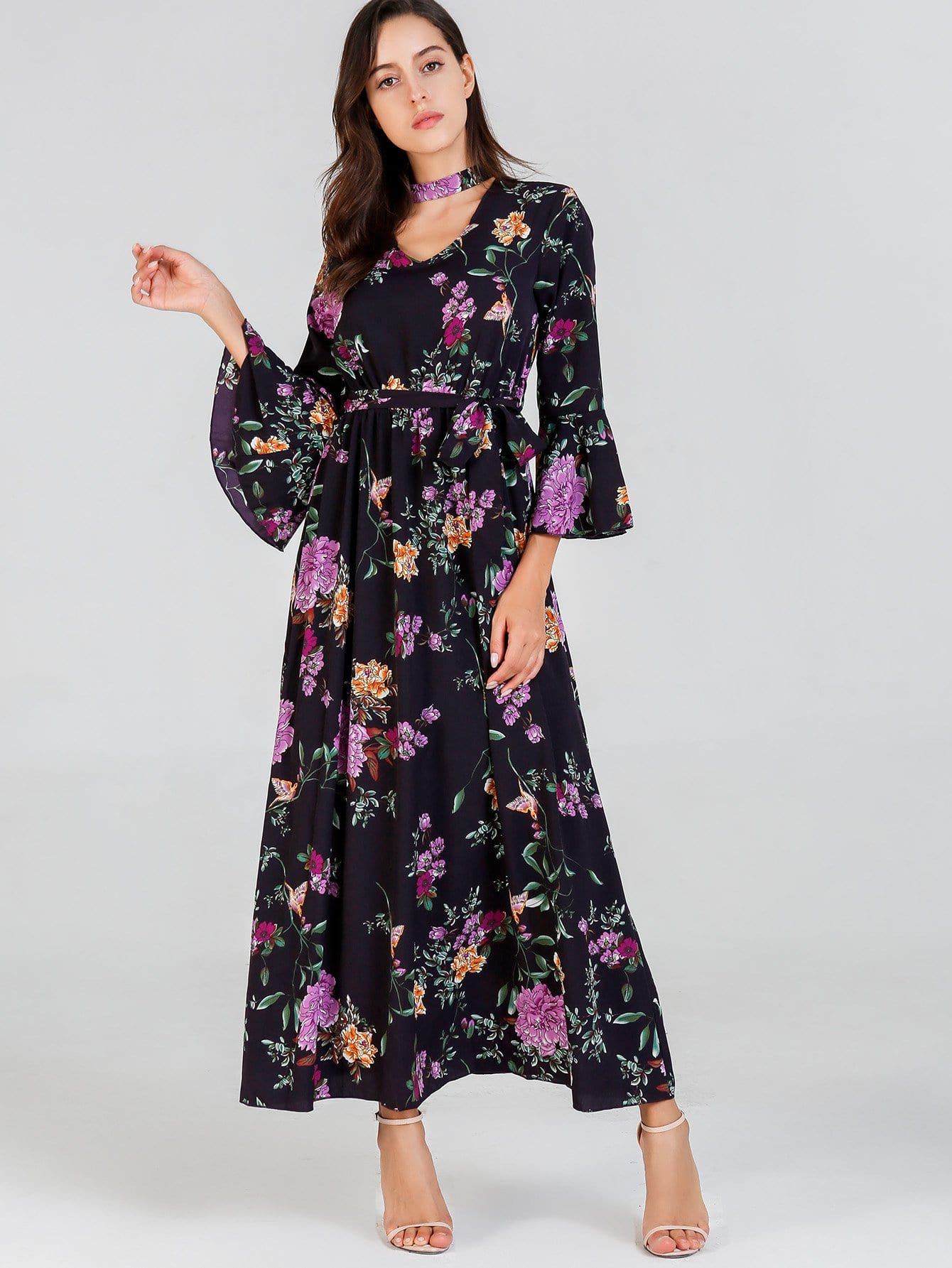 Waist Belted Bell Sleeve Floral Dress bohemian bell sleeve floral midi dress
