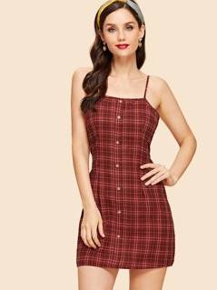 Zip & Knot Back Plaid Cami Dress