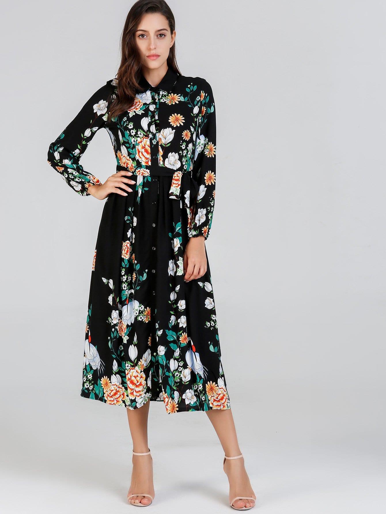 Купить Самостоятельно Опоясанный Ботанический Рубашка, Mary P., SheIn