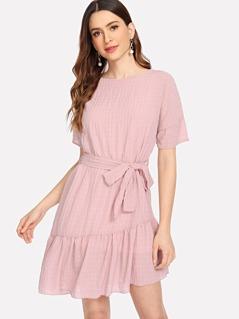 Ruffle Hem Belted Crinkle Dress