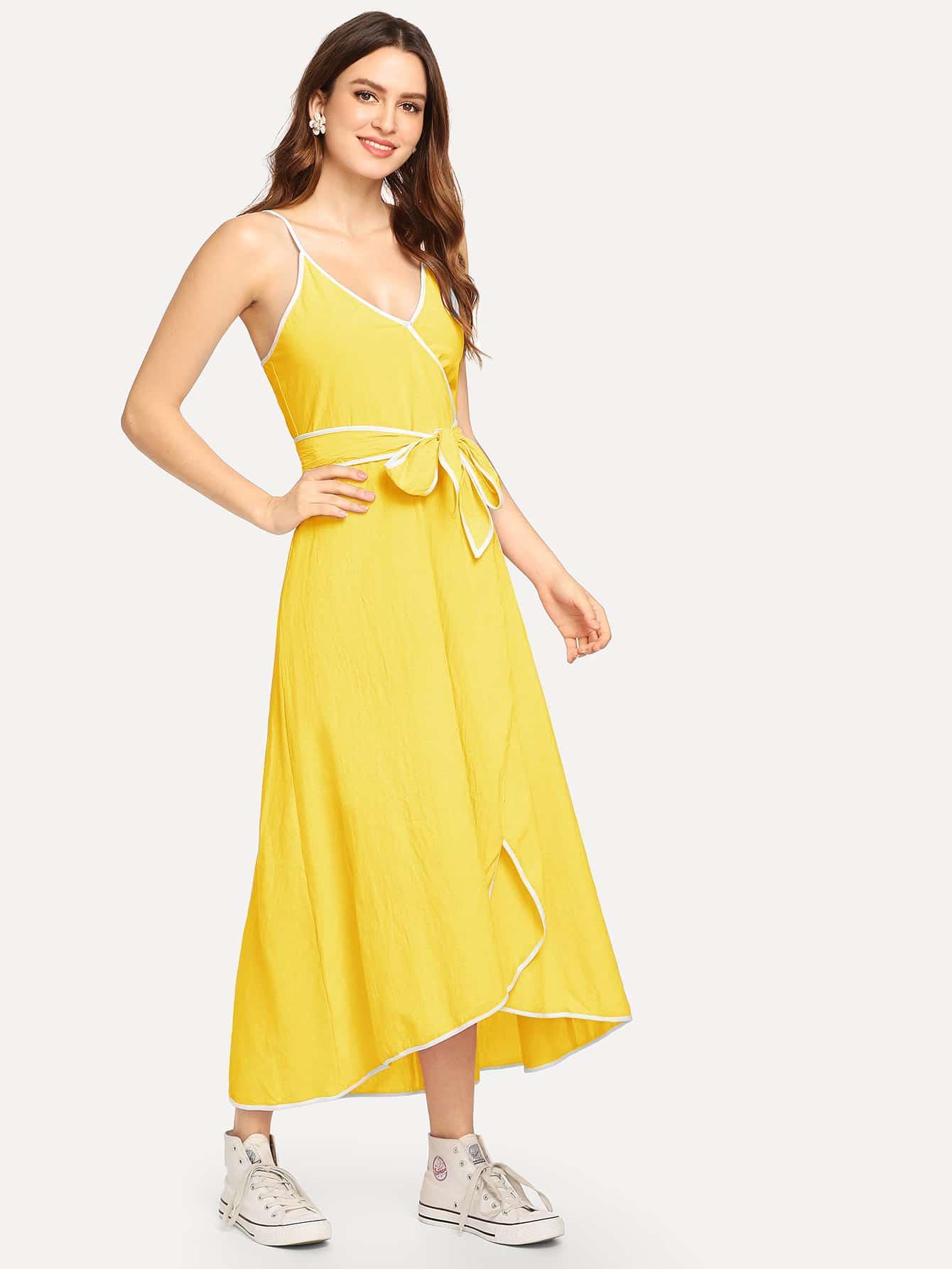 Купить Констрастное Cami платье с запахом, Jana, SheIn
