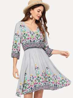 Botanical Print Fit and Flare Dress