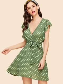 Surplice Neck Ruffle Armhole Belted Dress