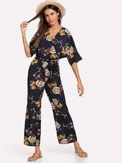 Zip Back Belted Floral Jumpsuit